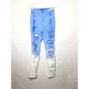 Fashion Nova Blue Ombre High Waisted Skinny Jeans